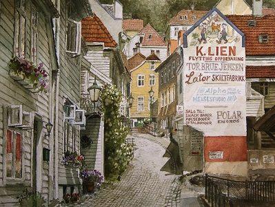 Kunstneren i Bergen: Akvarell fra Molløesmauet i Bergen