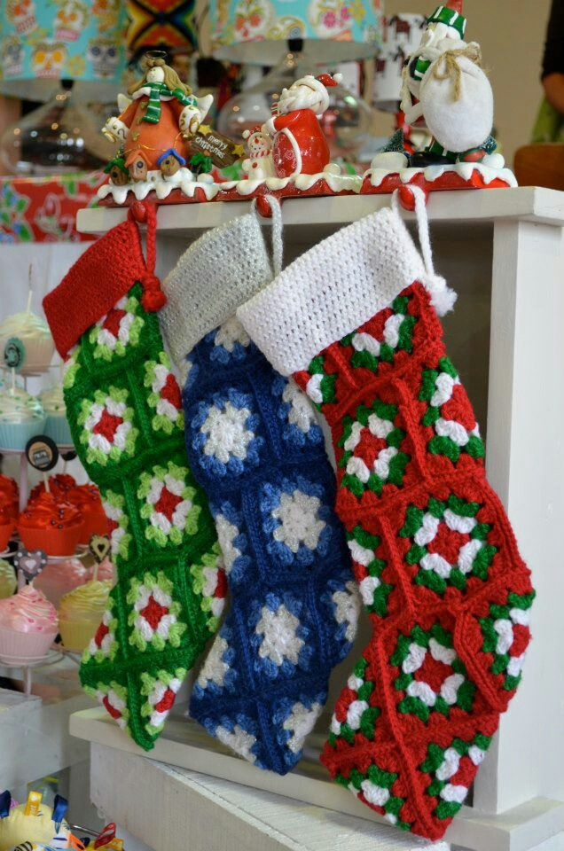 Crochet Granny Square Christmas Stockings by Incy Wincy Designs