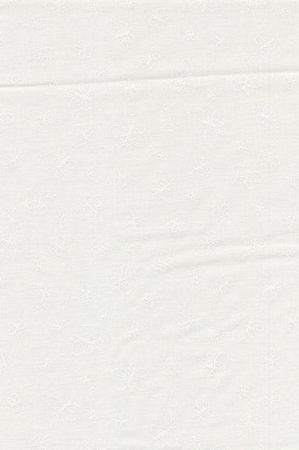 Bomuld m/sommerfugle knækket hvid/hvid