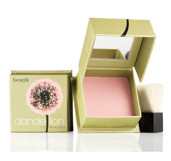 "Benefit's ""Dandelion"" brightening face powder is my go-to blush. This sheer ballerina pink finishing powder with a subtle shimmer takes your complexion from dull to radiant in an instant! To perk up throughout the day, dust on cheeks or all over face. Soft, natural-bristle blush brush included."