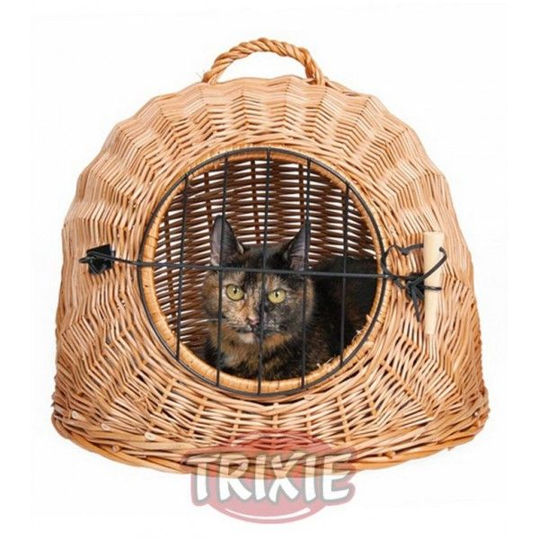 Trixie Cesta de mimbre para perros pequeños y gatos (Transportin)