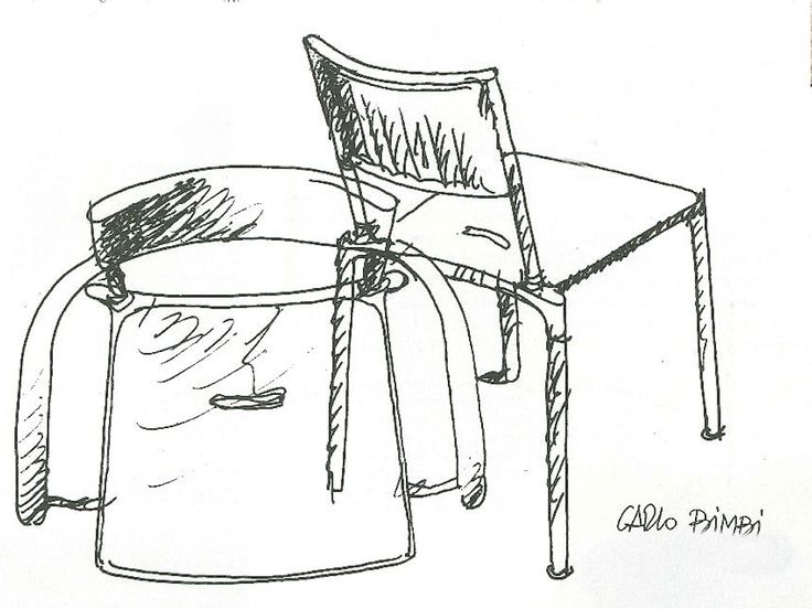"""Carlo Bimbi, #Blitz chair's sketch. With the intent not to be fascinated by fashion, Carlo Bimbi works concentrating his creativity on searching for logic and rational solutions. #Blitz chair came after the #Breeze's extraordinary success. That's the challenge faced by Carlo Bimbi in order to follow the footsteps of Breeze in terms of authenticity. Blitz chair is neat, efficient, elegant and it looks formal and corporate. It would be wrong to judge it only a """"son of Breeze"""", isn't it?"""