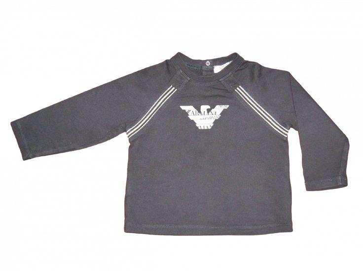 Maat 74 Longsleeve Donkerblauw met grijs logo voor  Merk Armani Baby