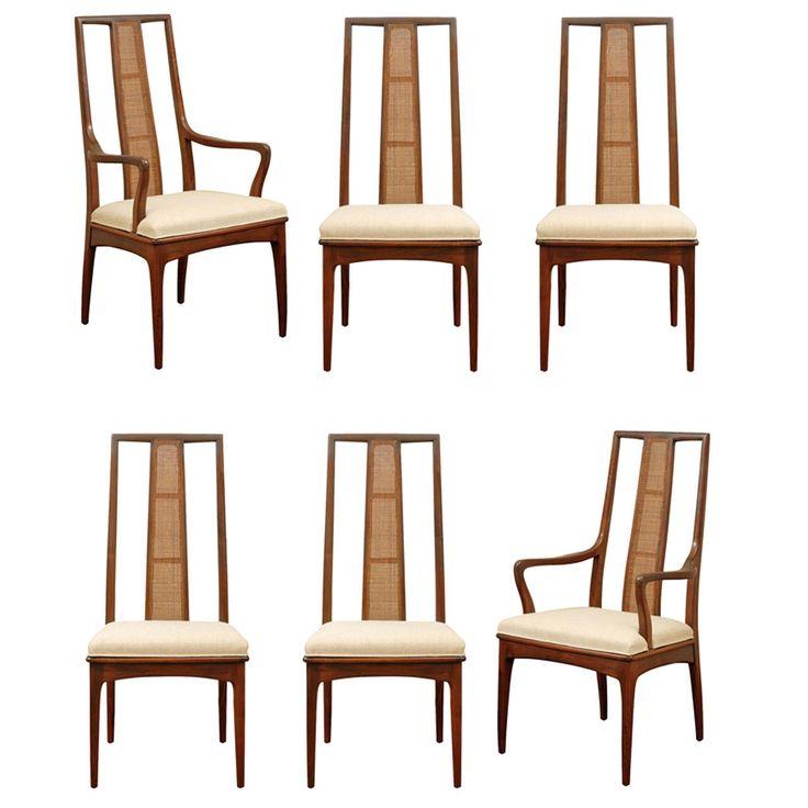 Elegant Set Of Six Walnut And Cane Dining Chairs By John Stuart Modern Room