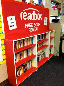 Free Book Rental Bookshelf for the Classroom. Bulletin Board ideas.