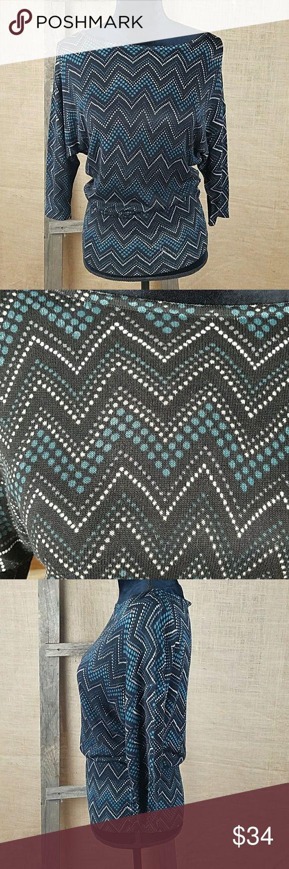 "White House Black Market women's XXS knitted White House Black Market women's XXS knitted 3/4 sleeve top pullover chevron.  Under arm to under arm: 22.5"" length: 27.5"" White House Black Market Sweaters Crew & Scoop Necks"