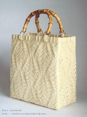 エコクラフト・紙バンド/波あじろ編み:縦波網代のバッグ                                                                                                                                                                                 もっと見る