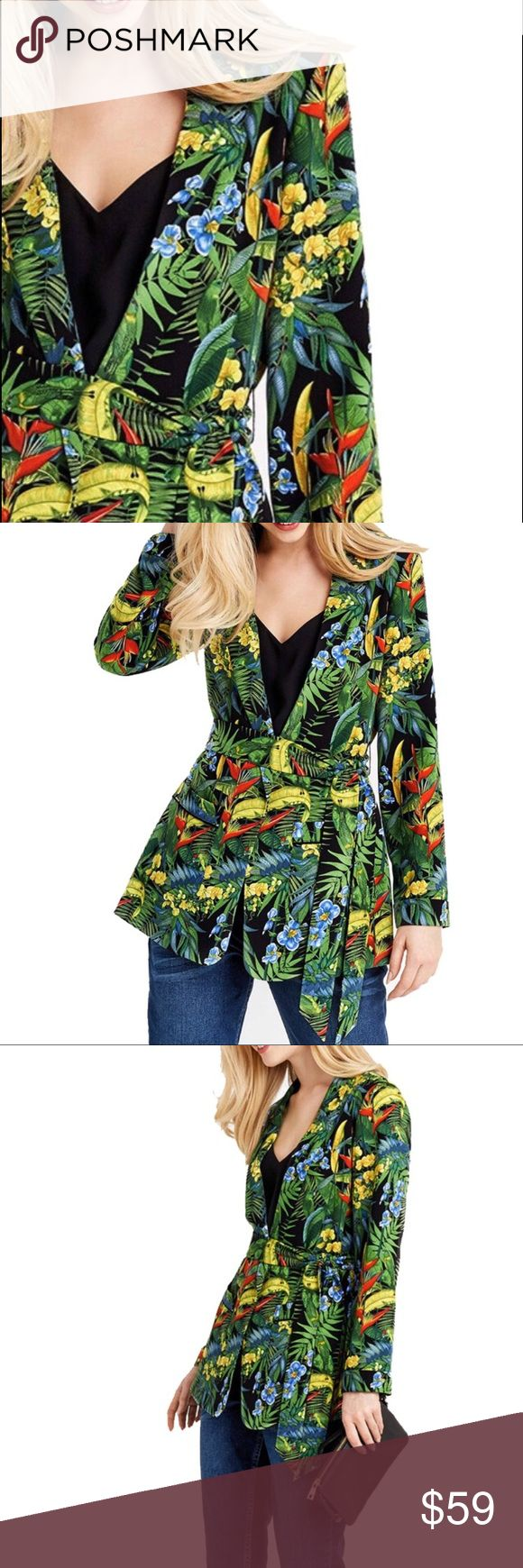 """Paradise Wrap Blazer vibrant paradise themed wrap blazer, cotton/spandex blend for comfort fit, coordinating belted sash, with pockets  🐇RESERVE out of stock sizes by purchasing any """"arriving🔜"""" option & it will automatically ship to you when its restocked. 🐢If you choose not to reserve, please be patient, priority stock goes to reserves first, then what is left will reflect in my closet Jackets & Coats"""