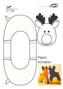 This little reindeer for kids to make would stand up even when printed on light paper. A very clever design.