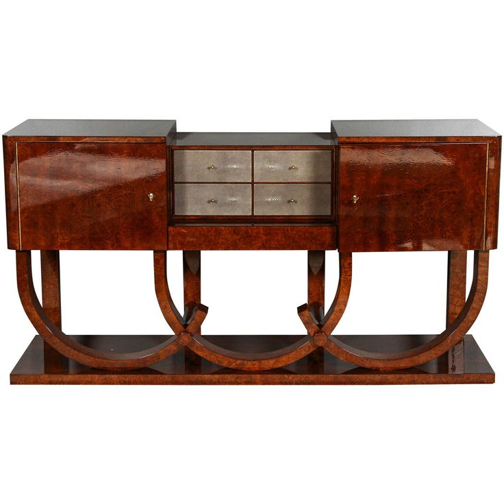 Awesome Art Deco Style Sideboard By German Fine Furniture Maker Cygal Art Deco Made  Of Burl Walnut With Four Grey Shagreen Center Drawers And Brass Hardware.