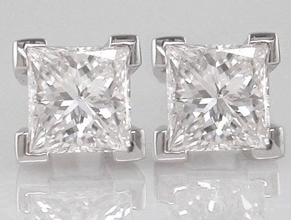 Diamond Earrings Princess cut 080ct F Colour VS2  by DOGSTONE, £1,250.00