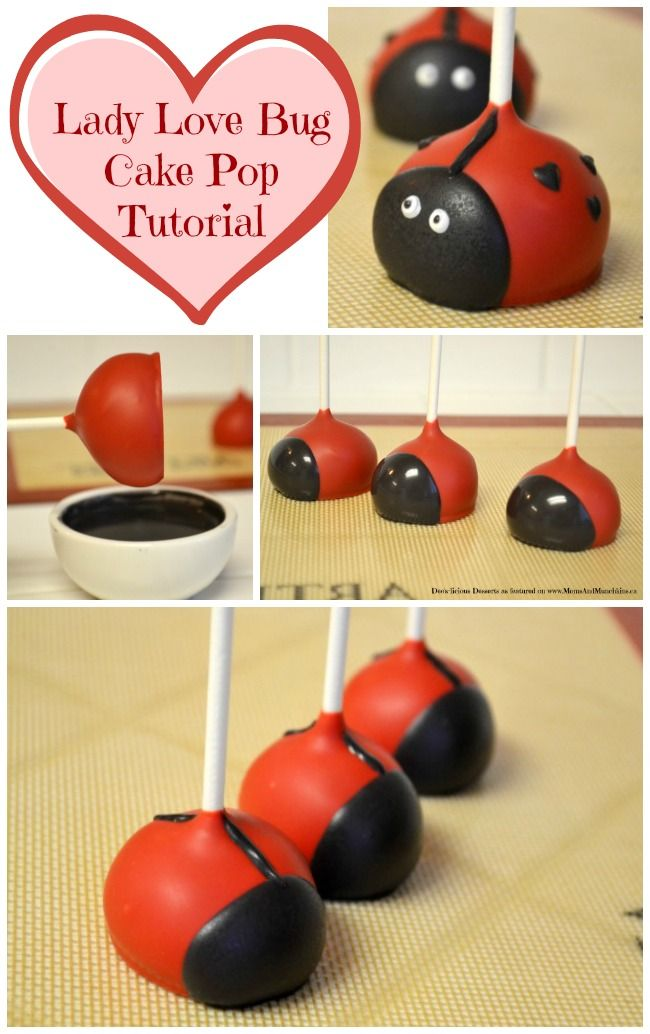 Lady Love Bug Cake Pops Tutorial - an adorable Valentine's Day cake pop tutorial.