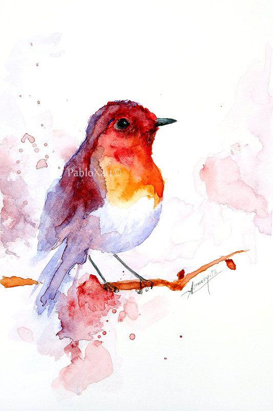 Pintura acuarela, pintura acuarela Ave, pájaro arte, Ilustración animal, pájaro…
