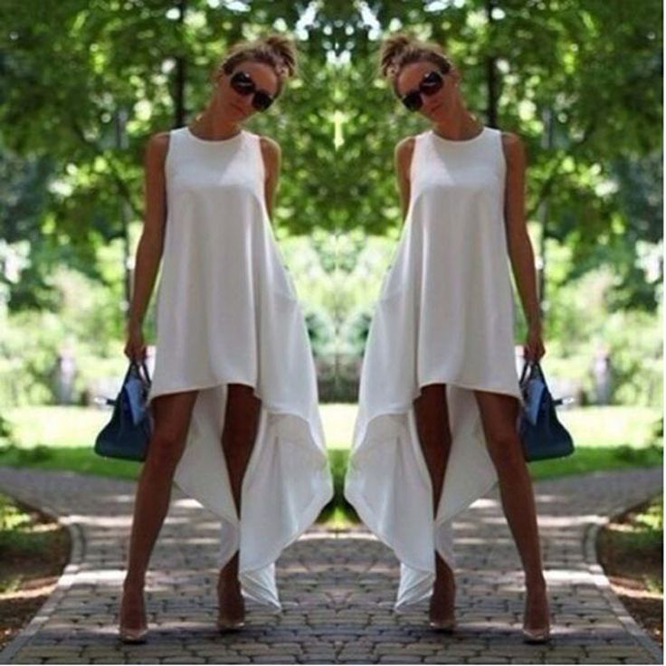 Free shipping Chiffon Beach Casual Dress 2 Colors Women Sexy Sleeveless White Asymetrical Hem Loose Summer Long Dress  Price: US $15.38  Sale Price: US $7.69  #dressional