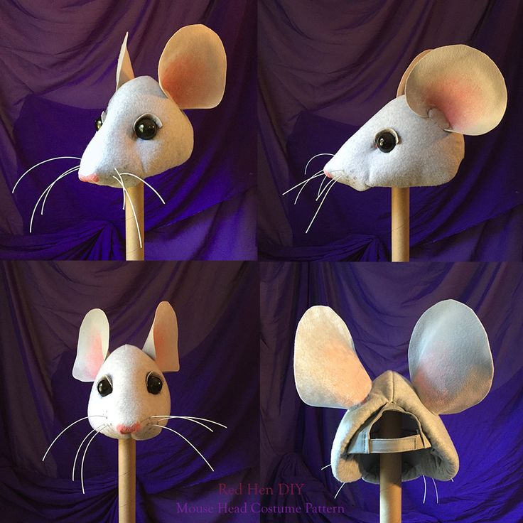 DIY Mouse (rat) head costume. Sewn over a baseball cap. Super cute for Cinderella, Nutcracker, Charlotte's web, etc. from RedHenDIY on Etsy.