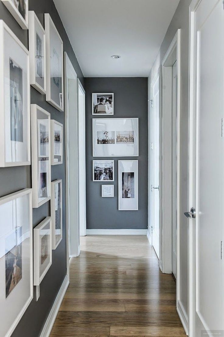 Download Grey White Paint Narrow Bedroom Hallway With Gloss Wooden Flooring Decorating Ideas Narrow Hallway With Nice Asymmetry Wall Picture...