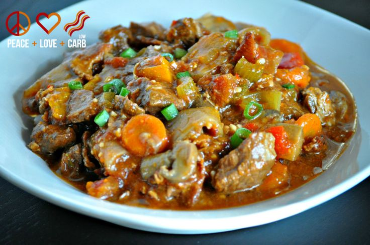 without TOMATO or PEPPER - Hearty Slow Cooker Beef Stew - Low Carb, Paleo