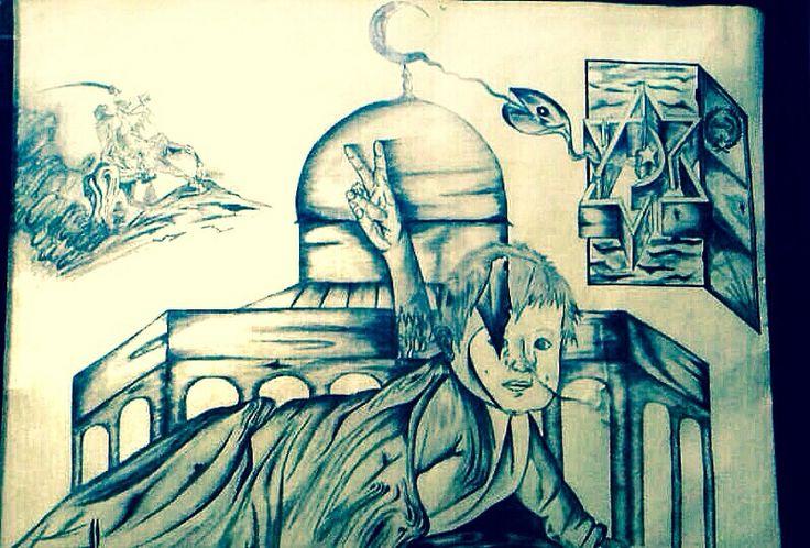 احدى لوحاتي التي رسمتها سنة ٢٠٠٢ كان عنوانها فلسطين بين حلم أطفالها وحالها