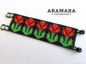 Huichol bracelet Flower bracelet Mexican Bracelet Mexican