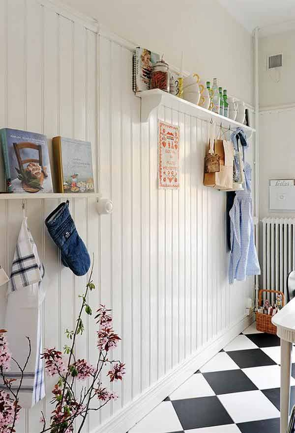 Love the beadboard with that flooring would be a cool laundry room combo