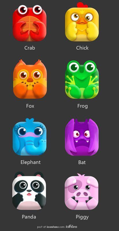 可爱动物图标UI: