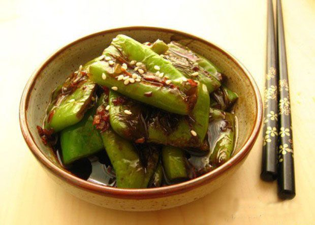 Tiger skin with green pepper