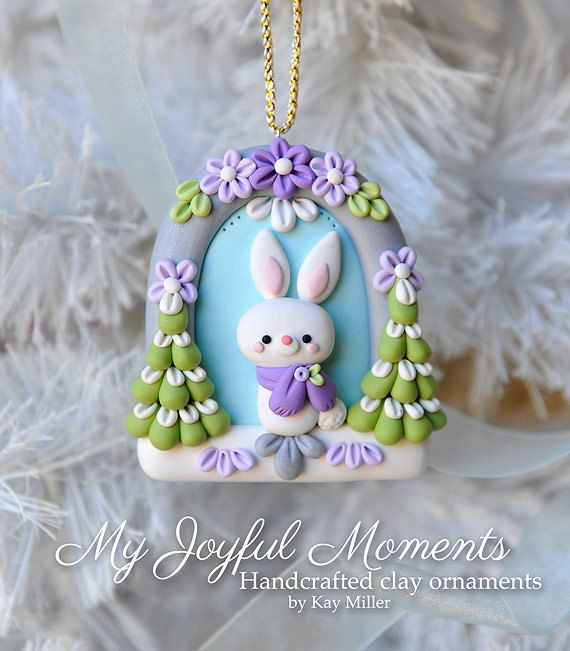 Handcrafted Polymer Clay Winter Bunny Scene by MyJoyfulMoments
