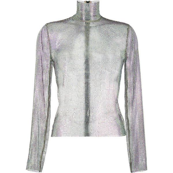Gucci crystal mesh high neck top (72.665.670 VND) ❤ liked on Polyvore featuring tops, metallic, white mesh top, metallic long sleeve top, white top, crystal top and metallic top