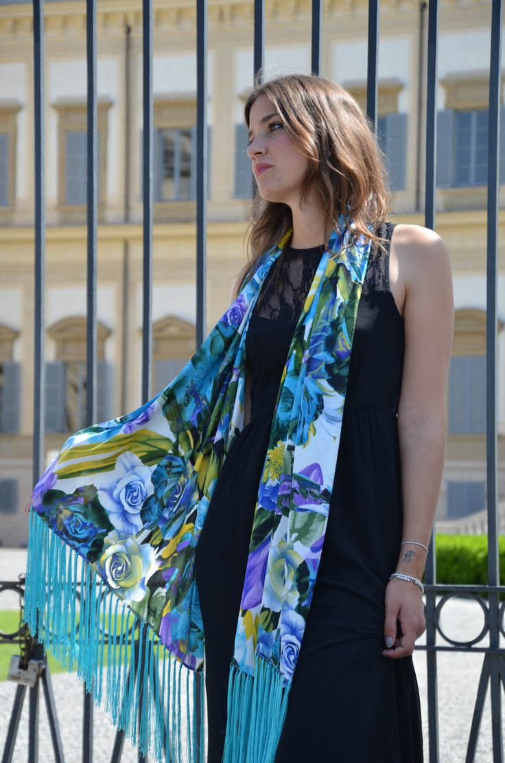 Silk shawl flower printed #marinafinzicollection #spring2016 #silk #
