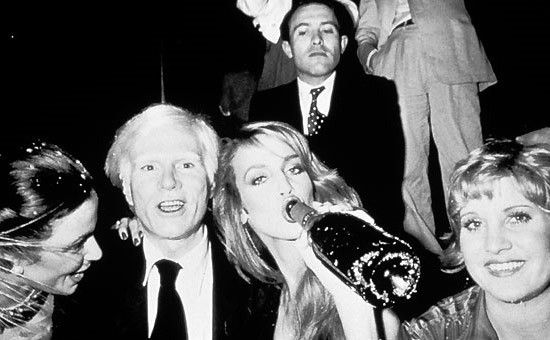Andy Warhol & Jerry Hall. Studio 54.