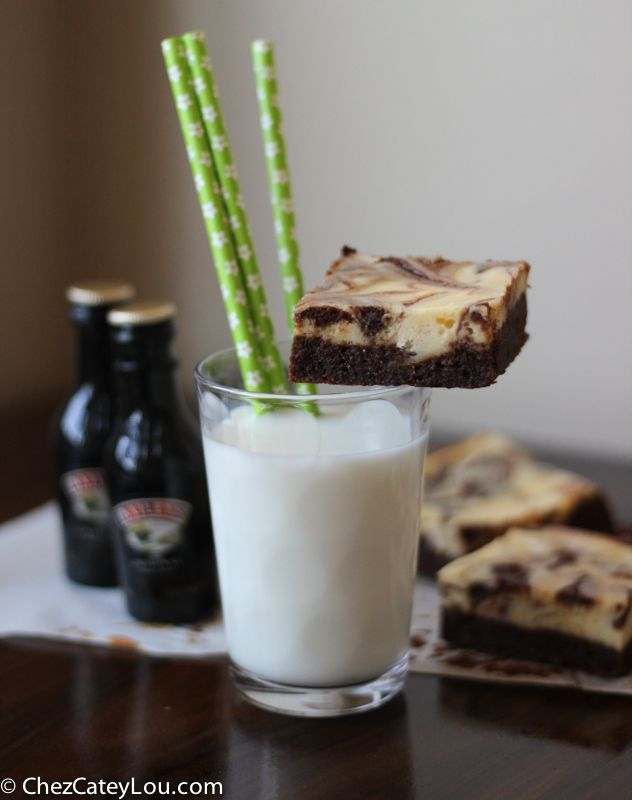 Baileys Irish Cream is mixed into both the brownie batter and the cheesecake swirl, giving these Irish Cream Cheesecake Brownies the most delicious flavor. Perfect for all your St. Patrick's Day celebrations!  February is over! Hooray! And that means that it is almost time for St. Patrick's Day! TheBetterHalf and I are both part Irish (his mom is a Duffy, mine is a Murphy) and we both went to Notre Dame, so needless to say we are big fans of this holiday. I have several St. Patrick's Day…