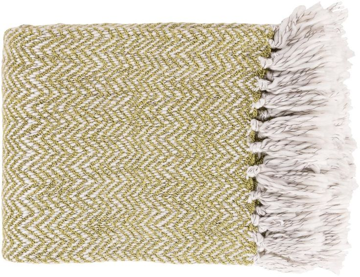 Surya Trina 50 by 60 inches Woven Acrylic, Polyester Throw, Lime, Ivory, Charcoal