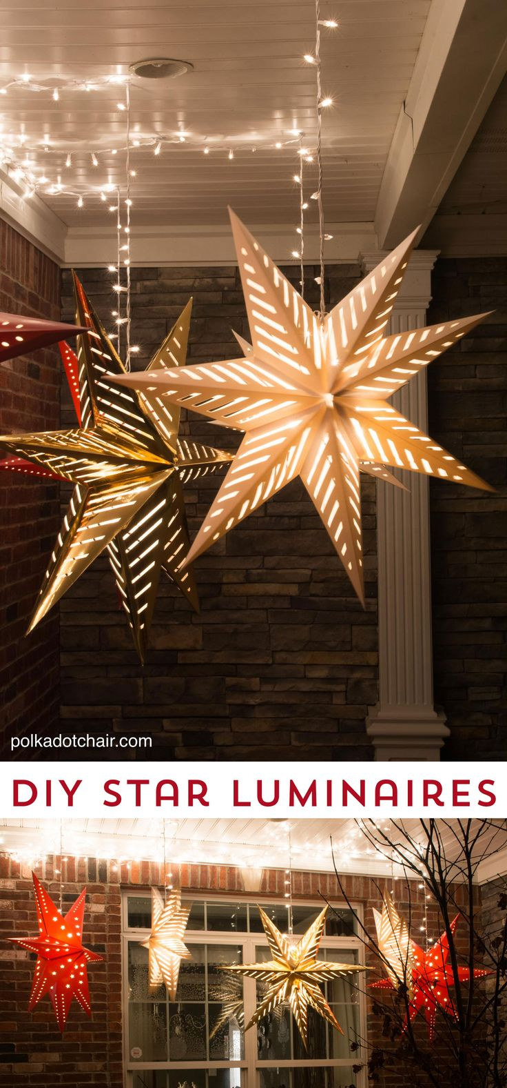 How to hang Star Luminaires on your front porch- what a clever idea for decorating your porch for New Years: