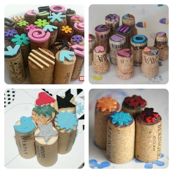 Sellos hechos con tapones de corcho y goma EVA | Aprender manualidades es facilisimo.com