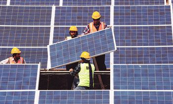 Solar panels are fitted in Astana, Kazakhstan