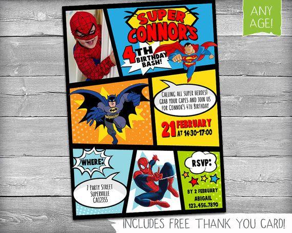 Superheld verjaardagsuitnodiging Superheld door KikimooDesigns