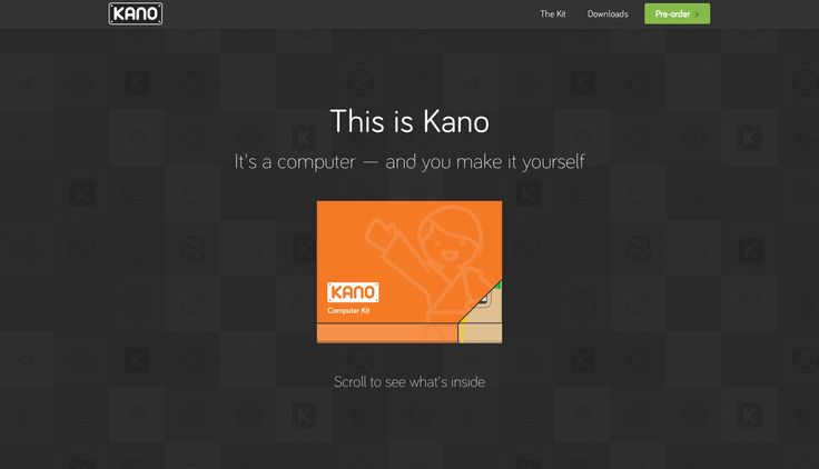 http://kano.me/ - one page site; when you scroll it shows how to build the computer (site que publicita um computador construído pelo consumidor)