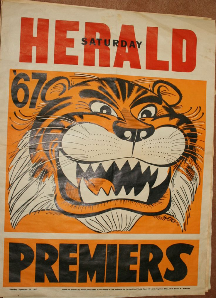 Weg Premiers Poster 1967 Richmond Tigers: Print on A3 to make posters!