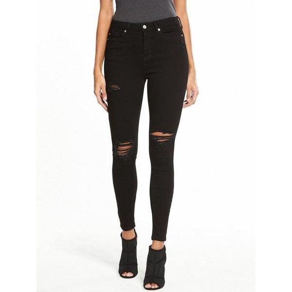 V By Very Ella High Waisted Ripped Skinny Jean (614.250 IDR) ❤ liked on Polyvore featuring jeans, high-waisted skinny jeans, distressed skinny jeans, white ripped skinny jeans, white distressed jeans and high waisted ripped skinny jeans