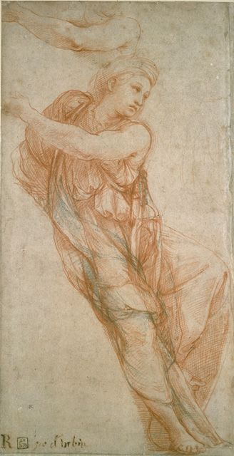 Raphael (Raffaello Sanzio), 1483-1520, Italian, The Phrygian [?] Sibyl for the Chapel of Agostino Chigi (Santa Maria della Pace), c.1511-12.  Red chalk with some black chalk on buff paper, 36.3 x 18 cm.  Ashmolean Museum at the University of Oxford, UK. High Renaissance.