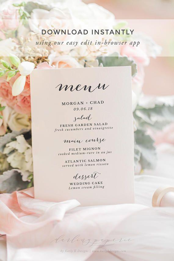 wedding menu template wedding menu printable wedding menu cards