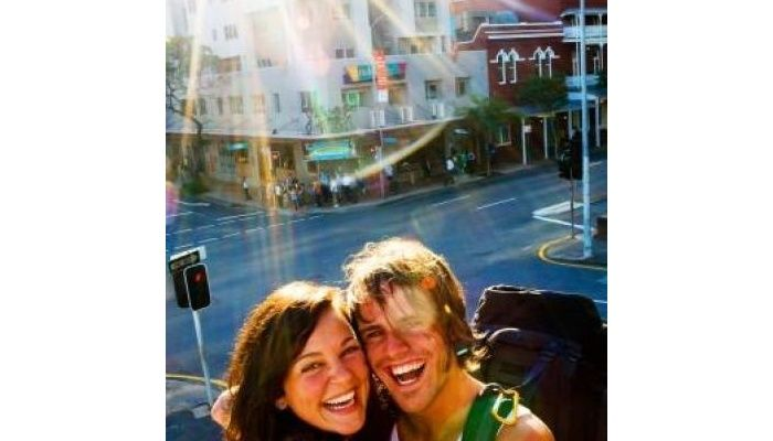 Happy couple Brisbane Backpackers