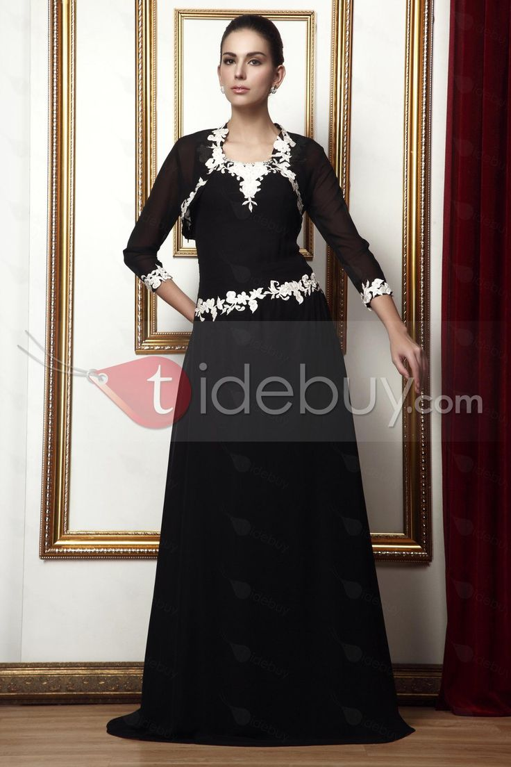 スリーブレス ストラップ Aライン 床までの長さ アップリケ 花嫁さんの母ドレス