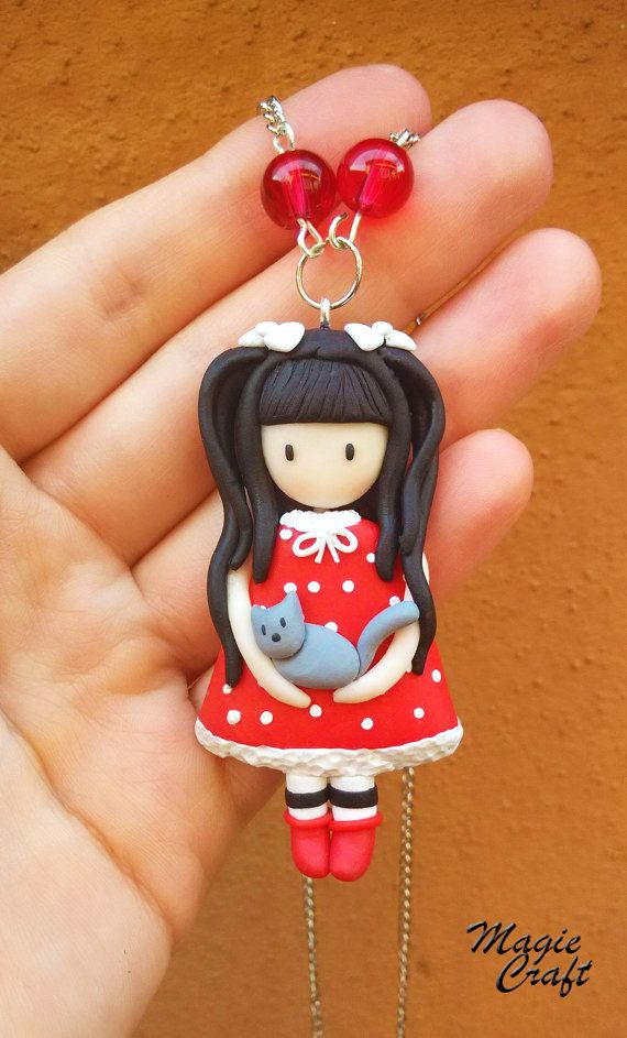 Collana Bambolina con gatto doll cat fimo clay di MagieCraft, €10.00