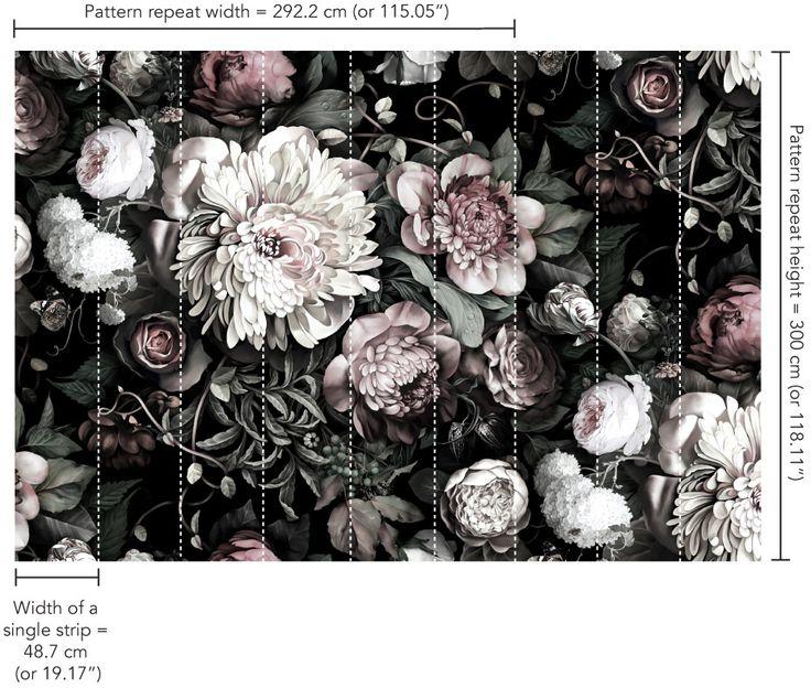 Black white floral wallpaper 2