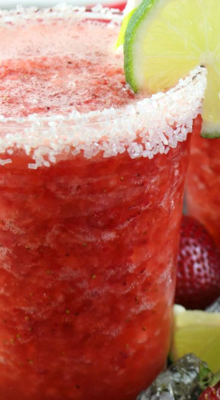 Non-Alcoholic Frozen Strawberry Margarita ~ These virgin frozen strawberry margaritas are sure to hit the spot!