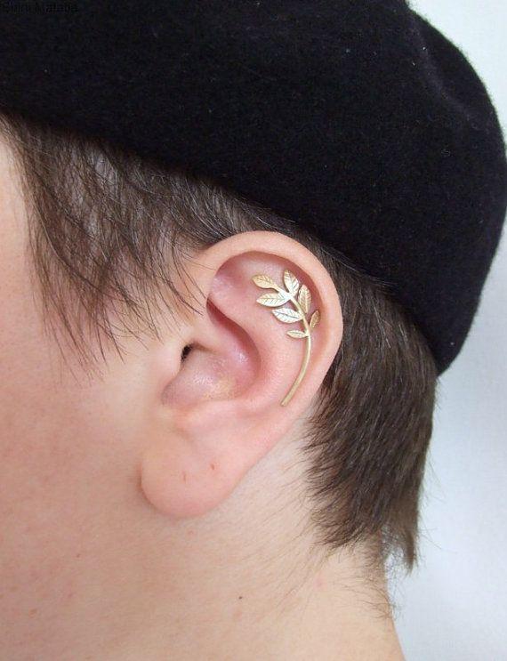 Silver Forest Leaves Single Ear Piercing par shirliclassicjewelry