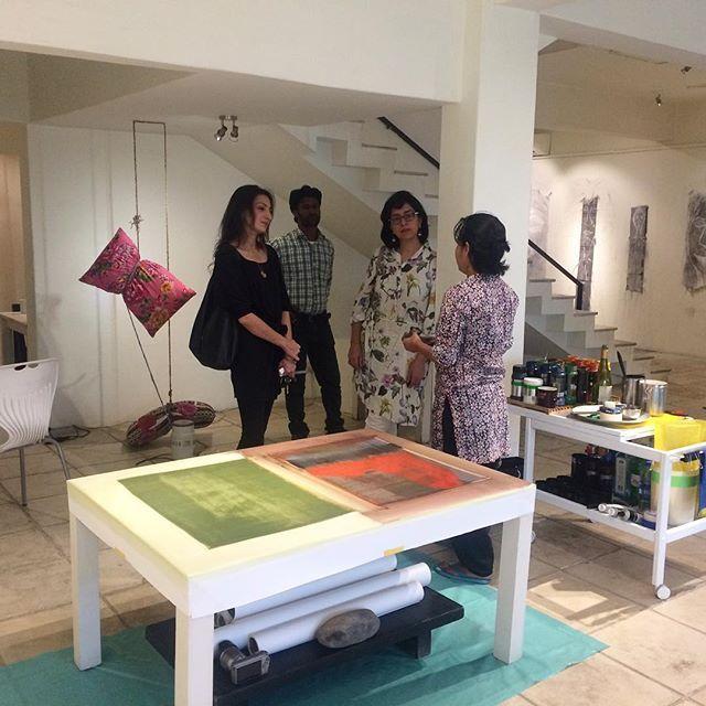 Naiza Khan & Zarmeene Shah with one of the artists of Recorded Time, Ayessha Quraishi. #recordedtime #openstudio #day18 #naizakhan #zarmeeneshah