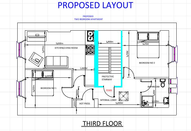 Drawing for Fire Safety Cert Apartment Proposed Layout