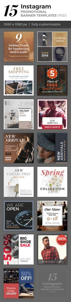 This is a collection of 15 fully customizable banner templates to promote your products, services or brand on Instagram and other social media channels. All banners were carefully designed and the clean and minimalist look follows the latest design trends of 2016. - Tap the link to shop on our official online store! You can also join our affiliate and/or rewards programs for FREE!